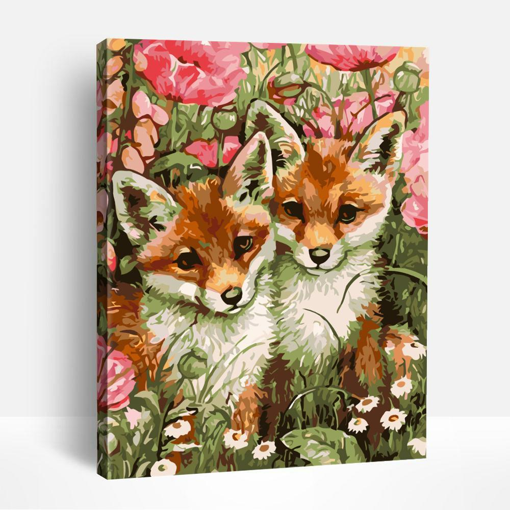 The foxes among the flowers | Paint By Numbers
