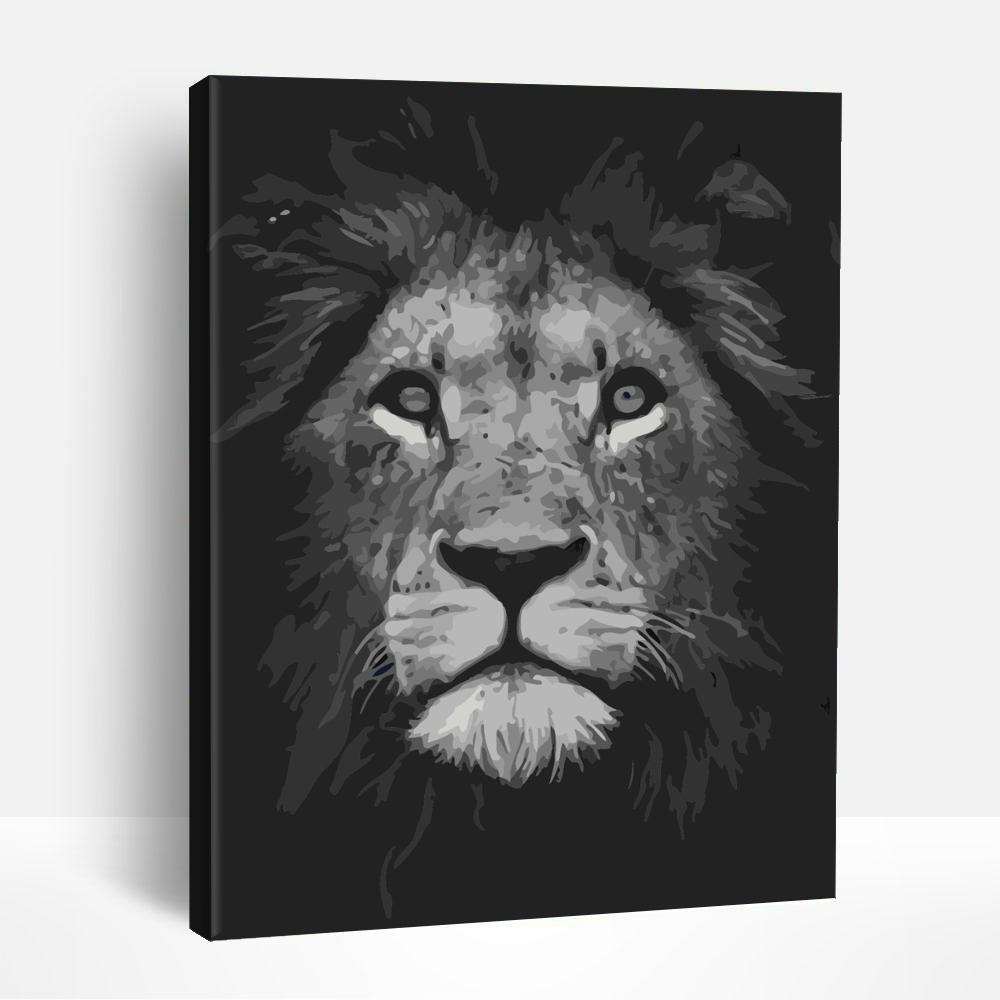 Black and White Lion | Paint By Numbers