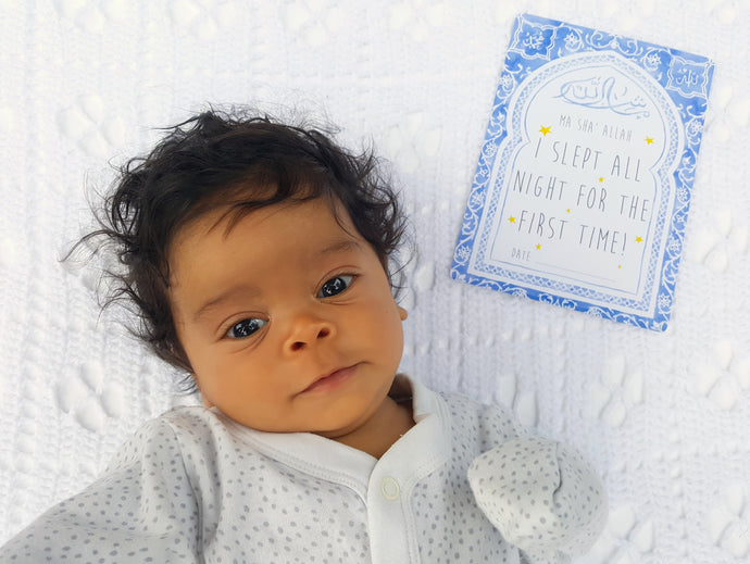 Muslim baby milestone cards for boys and gender neutral by Qalbi Moroccan Arch
