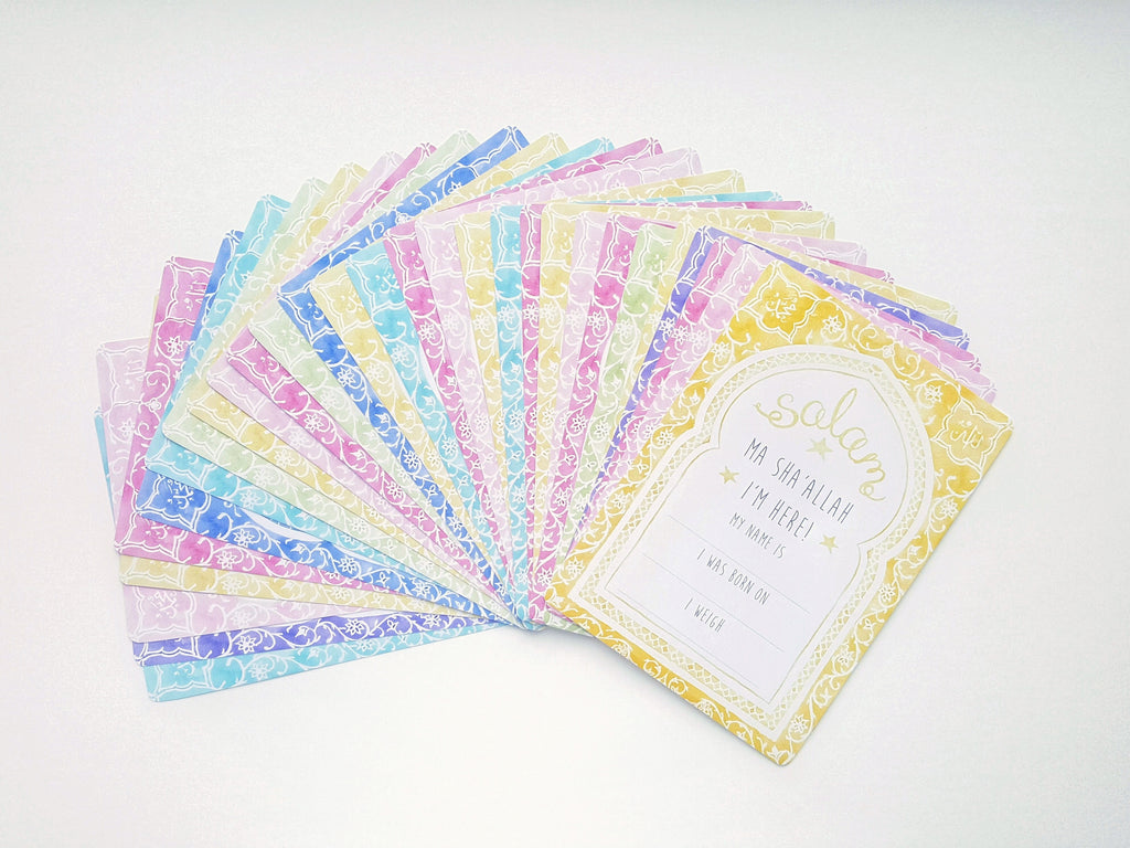 Muslim baby milestone cards for girls by Qalbi Moroccan Arch