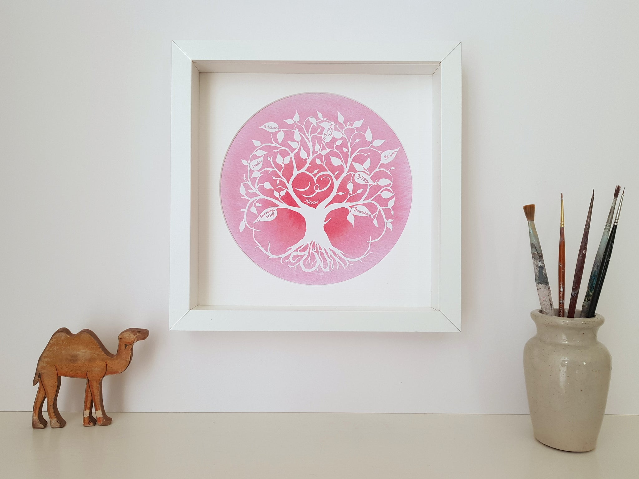 Pink Muslim baby personalised tree of life art print for Islamic Nursery by Qalbi