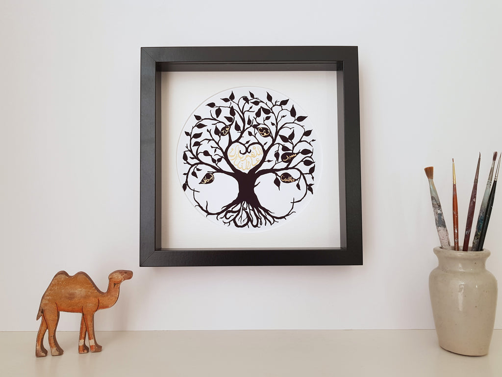 Arabic personalised family tree Islamic art print for muslim family by Qalbi