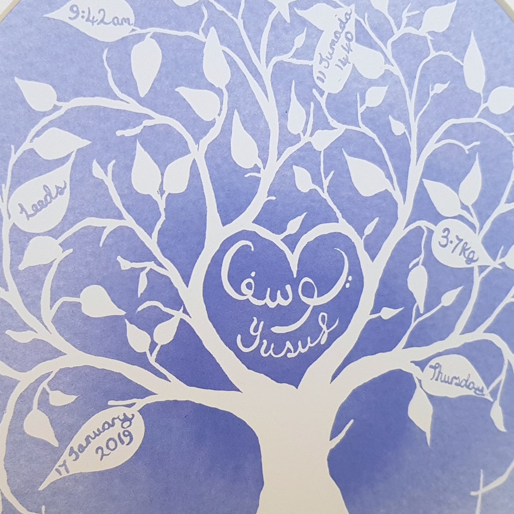 Blue Muslim baby personalised tree of life art print for Islamic Nursery by Qalbi