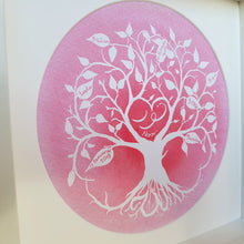 Load image into Gallery viewer, Pink Muslim baby personalised tree of life art print for Islamic Nursery by Qalbi