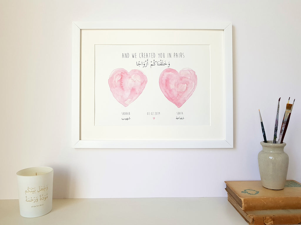 Personalised Arabic Couple's Hearts Print - And We Created You in Pairs (78:8)