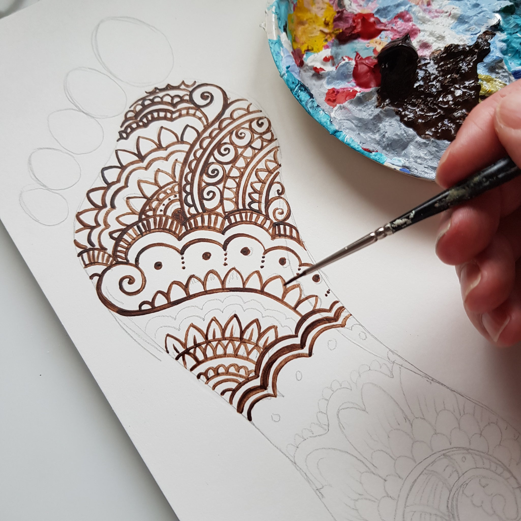 Personalised Henna Print - Paradise Lies Beneath the Feet of Mothers