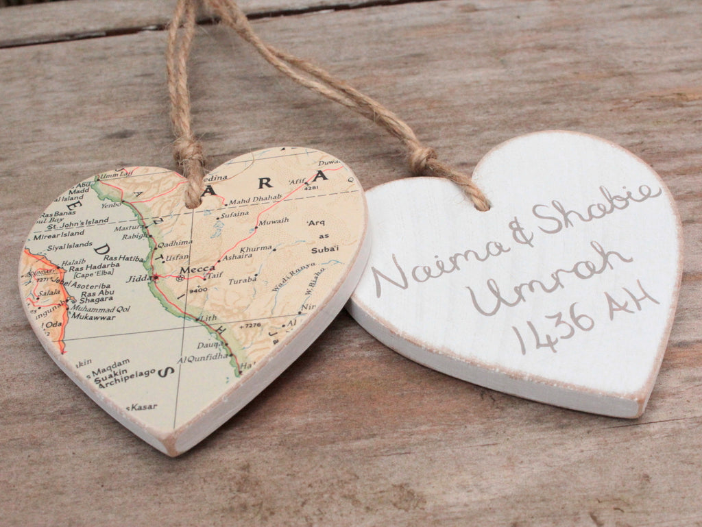 Wooden hanging heard with map of Mecca & Medina personalised in Arabic hajj umrah gift