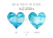 Load image into Gallery viewer, Personalised Arabic Couple's Hearts Print - And We Created You in Pairs (78:8)