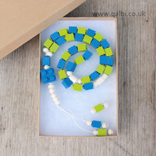 Load image into Gallery viewer, Lego Tasbih Tasbeeh Islamic Prayer Beads for Muslim Kids in Blue and Green by Qalbi