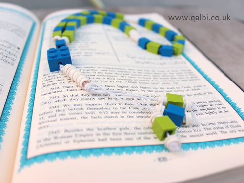 Lego Tasbih Tasbeeh Islamic Prayer Beads for Muslim Kids in Blue and Green