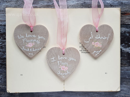 Hand-Painted Little Rose Personalised Mother's Day Wooden Heart