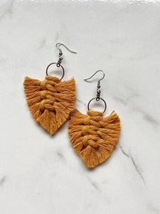 Feathered Fringe Earrings--Yellows & Oranges