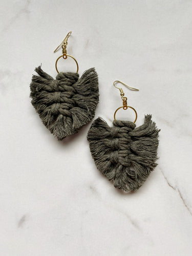 Feathered Fringe Earrings--Greens