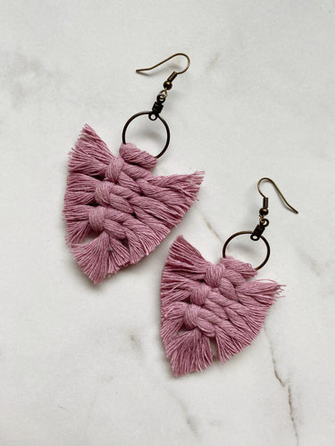 Feathered Fringe Earrings--Pinks