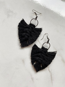 Feathered Fringe Earrings--Neutrals