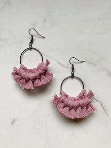 Fringe Looped Earrings--Pinks