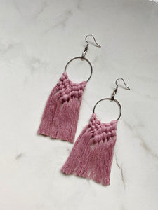 Boho Fringe Earrings--Pinks