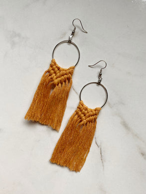 Boho Fringe Earrings--Yellows & Oranges
