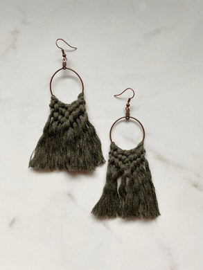 Boho Fringe Earrings--Greens