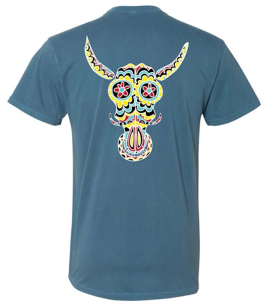 Washed Decorated Bull Skull T-Shirt