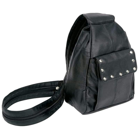 Picture of Diamond Plate Solid Genuine Lambskin Leather Biker Backpack Purse