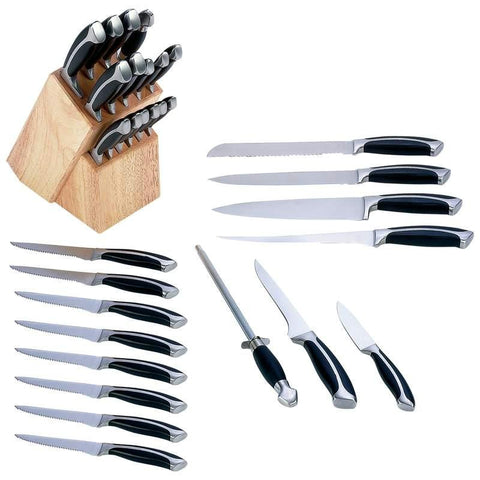 Picture of Slitzer 16pc Double-forged Bolster Kitchen Cutlery Set In Wood Block- Fgd Bolset Ktch Cutlery St