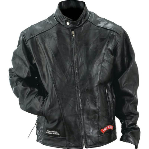 Picture of Diamond Plate Rock Design Genuine Buffalo Leather Motorcycle Jacket- M
