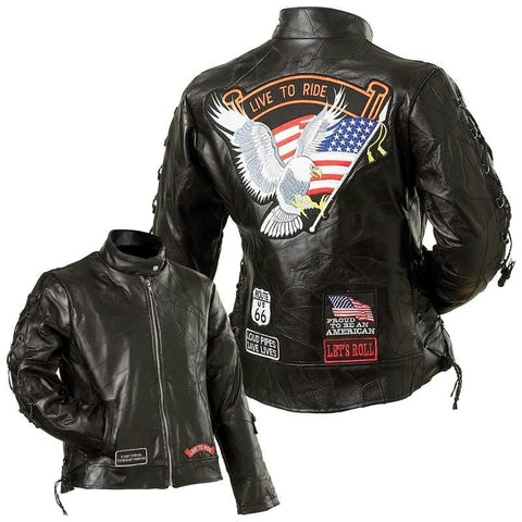 Picture of Diamond Plate Ladies Rock Design Genuine Buffalo Leather Motorcycle Jacket- 5x