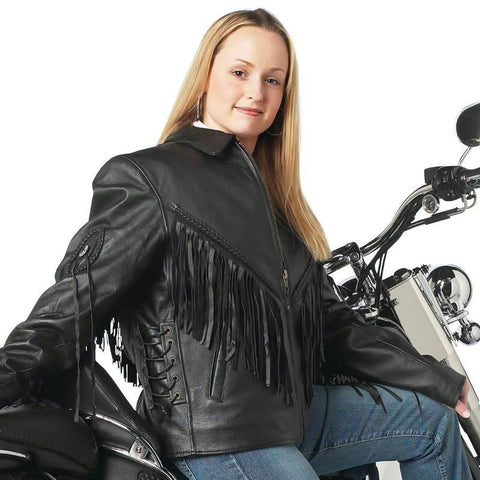Picture of Live-ride-rock Ladies Solid Genuine Leather Motorcycle Jacket- L