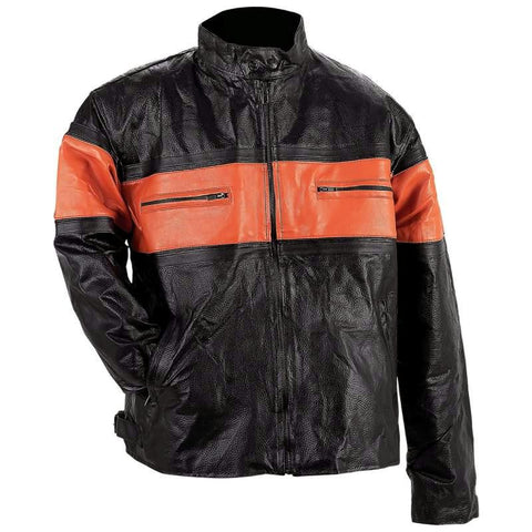 Picture of Diamond Plate Mens Hand-sewn Pebble Grain Genuine Leather Jacket- S