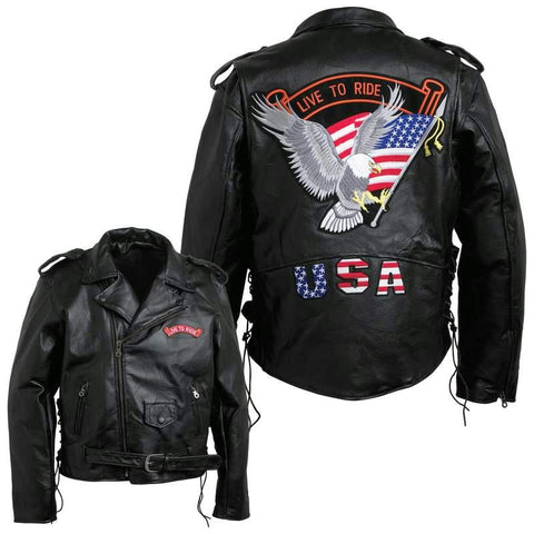 Picture of Diamond Plate Mens Hand-sewn Pebble Grain Genuine Buffalo Leather Jacket- Xl