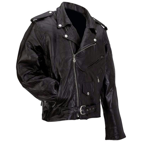 Picture of Diamond Plate Rock Design Genuine Buffalo Leather Motorcycle Jacket- L