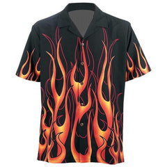 Live-ride-rock 6pc Button-down Flame Twill Shirt Set- Flame