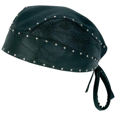 Picture of Diamond Plate Solid Genuine Leather Perforated Skull Cap With Chrome Studs