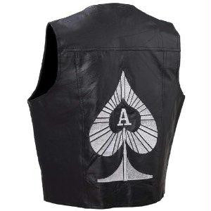 Picture of Diamond Plate Rock Design Genuine Leather Vest- Xl