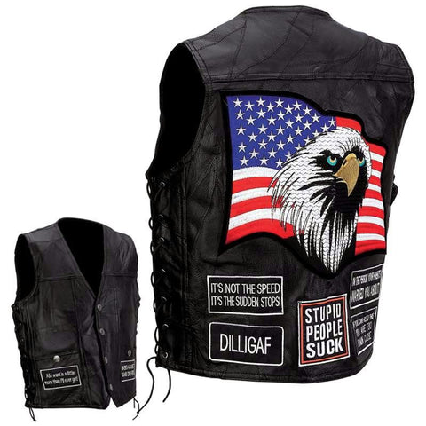 Picture of Diamond Plate Rock Design Genuine Buffalo Leather Concealed Carry Vest With Patches- Xl