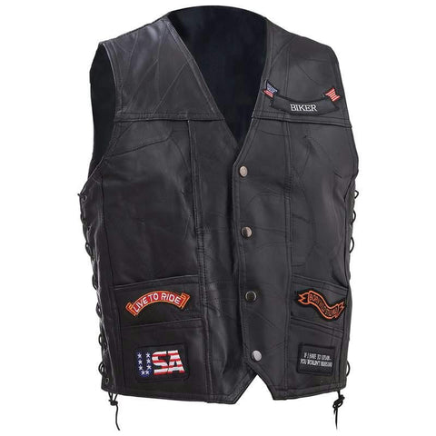 Picture of Diamond Plate Rock Design Genuine Buffalo Leather Vest- L