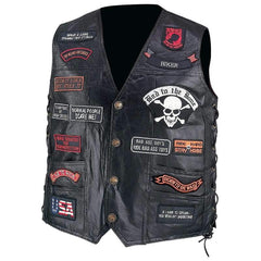 Diamond Plate Hand-sewn Pebble Grain Genuine Buffalo Leather Biker Vest With 23 Patches