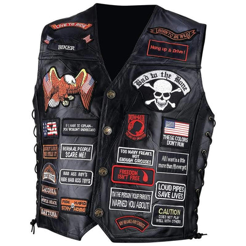 Picture of Diamond Plate Rock Design Genuine Buffalo Leather Biker Vest With 42 Patches- Xl