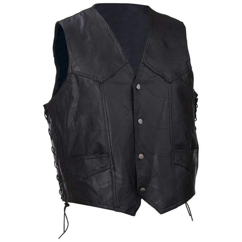 Picture of Diamond Plate Rock Design Genuine Buffalo Leather Vest- 3x