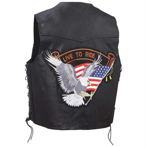 Picture of Diamond Plate 12pc Rock Design Genuine Buffalo Leather Vests