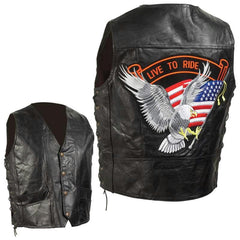 Diamond Plate Hand-sewn Pebble Grain Genuine Leather Biker Vest- L