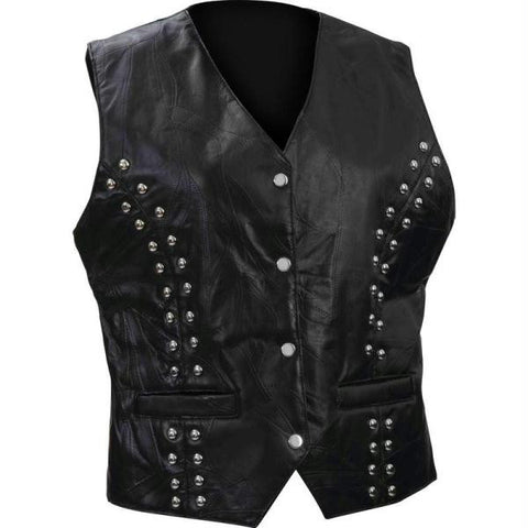 Picture of Diamond Plate Ladies Rock Design Genuine Lambskin Leather Vest- S