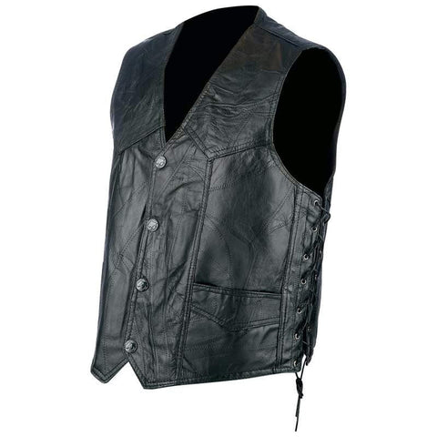 Picture of Rocky Ranch Hides Rock Design Genuine Hog Leather Biker Vest- M