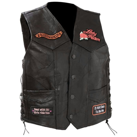 Picture of Diamond Plate Ladies Rock Design Genuine Leather Vest- 4x