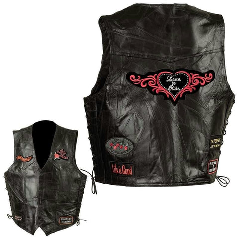 Picture of Diamond Plate Ladies Rock Design Genuine Leather Vest- Xl