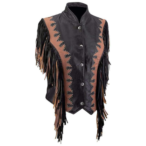 Picture of Diamond Plate Ladies' Solid Genuine Leather Vest- L