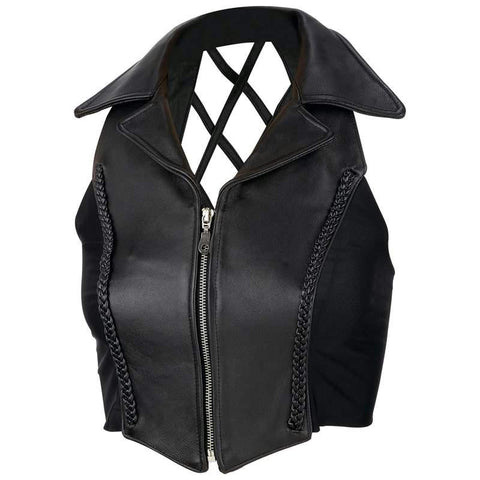 Picture of Diamond Plate Ladies Solid Genuine Leather Vest- Xl