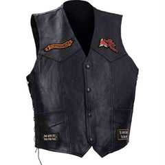 Diamond Plate Ladies Rock Design Genuine Buffalo Leather Vest- M