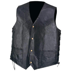 Diamond Plate Hand-sewn Pebble Grain Genuine Leather Vest- M